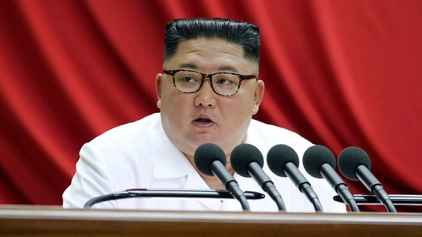 In this Monday, Dec. 30, 2019, photo provided by the North Korean government, North Korean leader Kim Jong Un speaks during a Workers' Party meeting in Pyongyang, North Korea. Independent journalists were not given access to cover the event depicted in this image distributed by the North Korean government. (Korean Central News Agency/Korea News Service via AP)