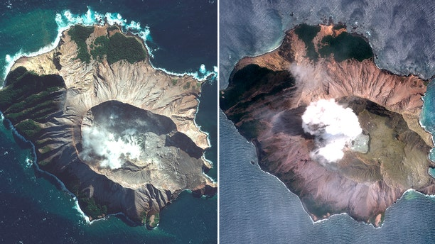 In this combo made from two satellite images taken May 12, 2019, left, and Dec. 11, 2019, right, by Maxar Technologies steam rises from the volcano on White Island off the coast of Whakatane, New Zealand.