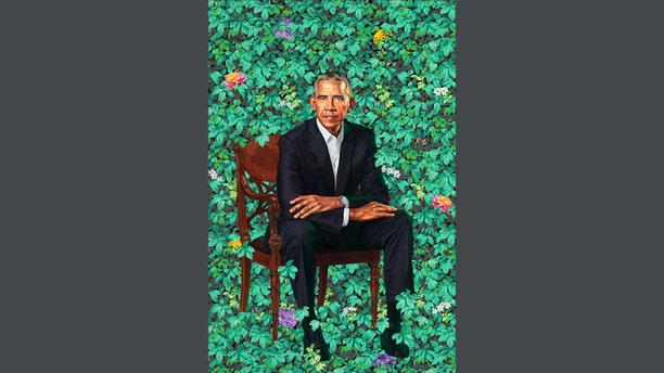 The finished work of art featured a 7-foot portrait of former President Barack Obama sitting in a field of flowers. (Smithsonian)