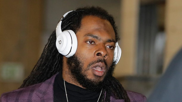 San Francisco 49ers cornerback Richard Sherman arriving for a NFL football game against the Baltimore Ravens, Sunday, Dec. 1, 2019, in Baltimore, Md. (AP Photo/Julio Cortez)