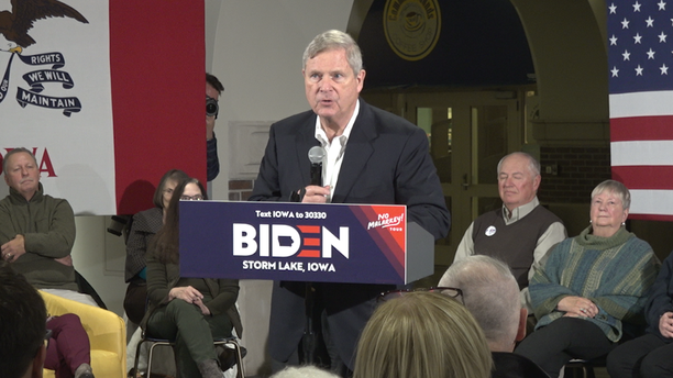 Former Iowa governor and U.S. Secretary of Agriculture Tom Vilsack joined Biden on the first few days of his tour. Vilsack endorsed Biden last month.