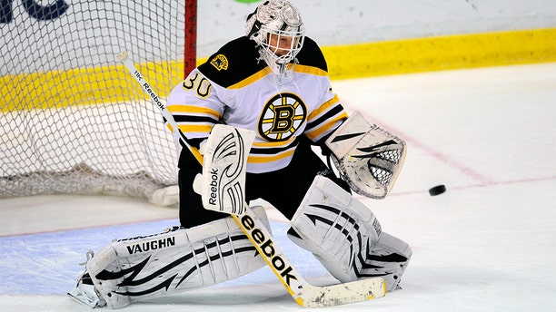 SUNRISE, FL - MARCH 15: Goaltender Tim Thomas #30 of the Boston Bruins warms up prior to the start of a NHL game against the Florida Panthers at the BankAtlantic Center on March 15, 2012 in Sunrise, Florida. (Photo by Ronald C. Modra/Getty Images)