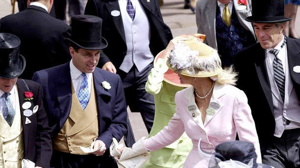 Prince Andrew, The Duke Of York and Jeffrey Epstein (far right) At Ascot. With them are Edward (far left) and Caroline Stanley (in pink), the Earl and Countess of Derby.