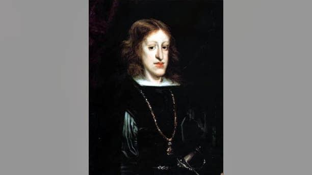 King Charles II of Spain was among the Habsburg rules most seriously afflicted with the facial deformity. (Don Juan Carreño de Miranda)