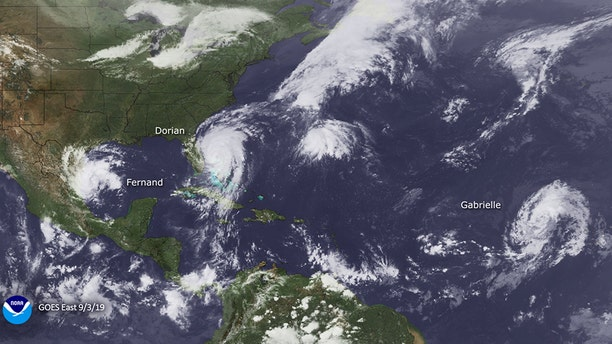 Hurricane Dorian can be seen churning off the southeast coast of the U.S. on Sept. 3, 2019, in this satellite photo.