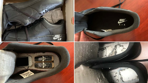 A pair of Nike shoes each hiding three tiny cellphones in cut out cavities in their soles was intercepted at Logan County Detention Center.