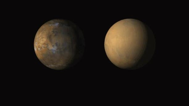 The Mars Color Imager (MARCI) camera onboard NASA's Mars Reconnaissance Orbiter (MRO) shows the typical state of Mars, seen here in May 2018, and what the planet looked like during a planet-encircling dust storm in July 2018.