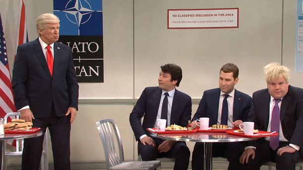"""From left, Alec Baldwin, Jimmy Fallon, Paul Rudd and James Corden play world leaders at last week's NATO summit on """"Saturday Night Live."""" (NBC)"""