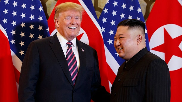 President Trump meets with Kim Jong Un at a summit in Hanoi in February 2019. (AP)