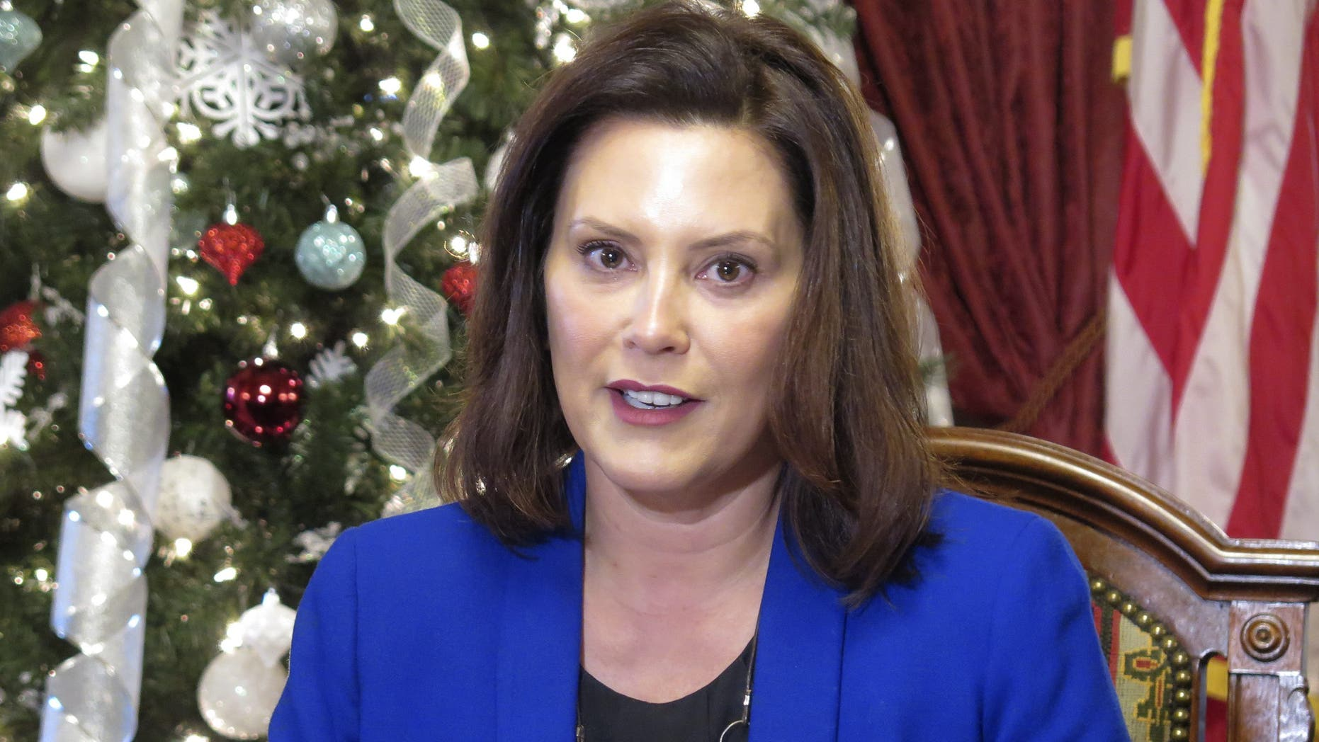 In this Dec. 18, 2019, file photo, Michigan Gov. Gretchen Whitmer speaks at the Capitol in Lansing, Mich. (AP Photo/David Eggert, File)