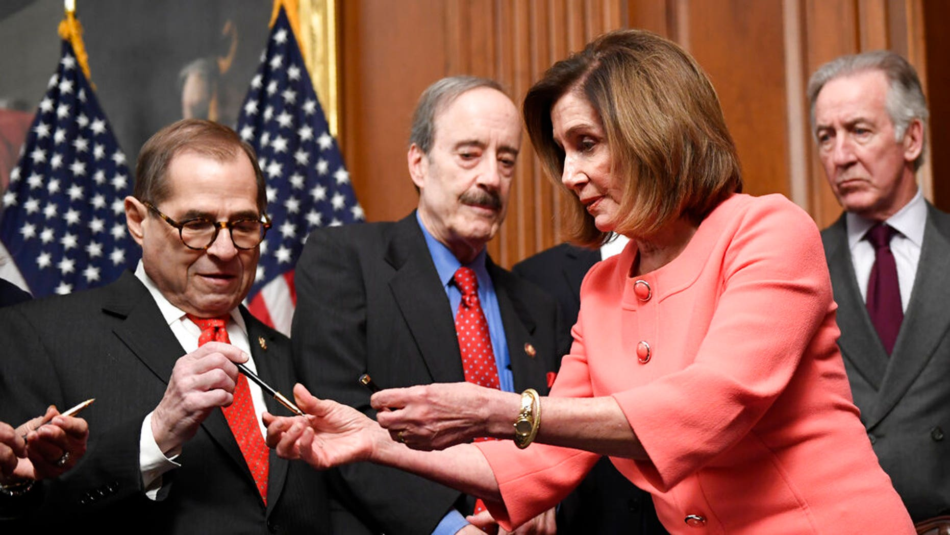 Westlake Legal Group PelosiPensA_011620 Pelosi hands out commemorative pens as House transmits Trump impeachment articles to Senate fox-news/columns/fox-news-first fox news fnc/us fnc article 6fa42392-de2d-5fbb-8415-b43d654e4958