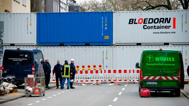 A road blocked with containers in Dortmund, Germany, after the World War II-era bombs were found.