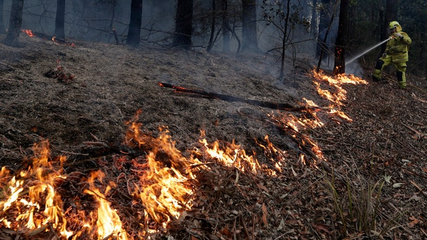 A firefighter manages a controlled burn to help contain a larger fire near Falls Creek, Australia, Sunday, Jan. 5, 2020. The deadly wildfires, which have been raging since September, have already burned about 5 million hectares (12.35 million acres) of land and destroyed more than 1,500 homes. (AP Photo/Rick Rycroft)