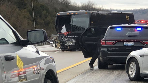 Covington bus suffered damage after being involved in a wrong-way fatal crash Saturday morning on the AA highway in Campbell County, Ky.