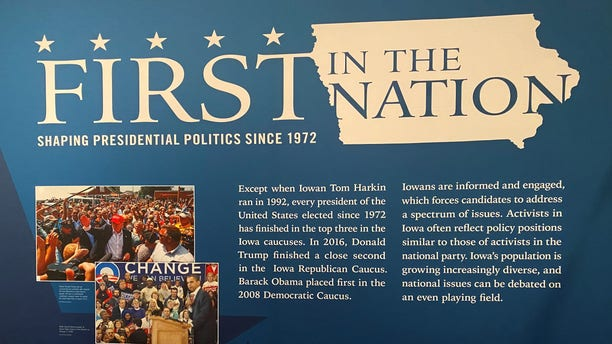 The Iowa Caucuses display at the State Historical Museum of Iowa, on Jan. 15, 2020