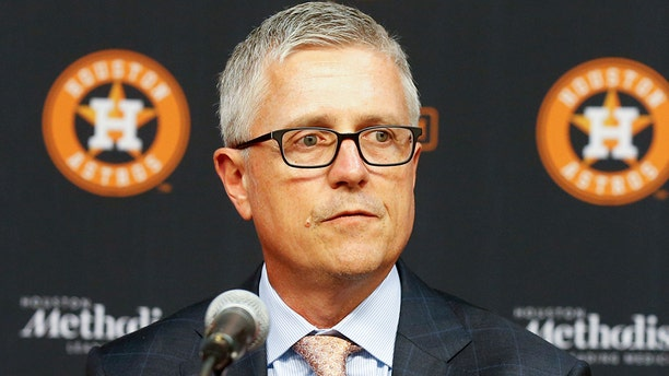 Jeff Luhnow, general manager and president of baseball operations for the Houston Astros addresses the media as he introduces players acquired at the trade deadline at Minute Maid Park on August 2, 2019, in Houston, Texas. (Photo by Bob Levey/Getty Images)