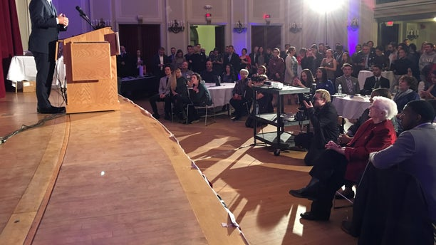 Former Housing Secretary and former San Antonio, Texas Mayor Julian Castro headlines a New Hampshire Young Democrats awards dinner, in Manchester, NH in February of 2018