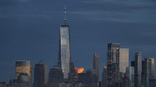 The Wolf Moon rises over the New York City skyline. (Gary Hershorn, Fox News)