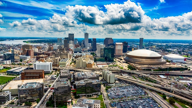 The downtown and surrounding areas of New Orleans, Louisiana shot from an altitude of about 1000 feet during a helicopter photo flight.