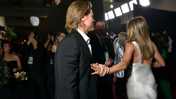 Brad Pitt and Jennifer Aniston attend the 26th Annual Screen ActorsGuild Awards at The Shrine Auditorium on Jan. 19, 2020 in Los Angeles, Calif.