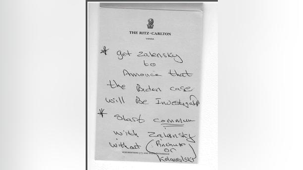 Lev Parnas' purported handwritten note concerning the Ukraine probe of Joe Biden. (House Democrats).