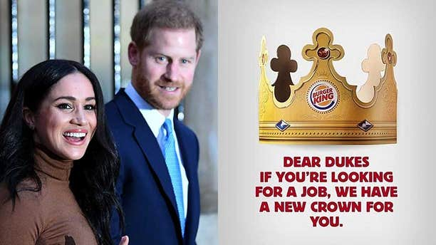 """""""We found out that the prince and the duchess decided to give up their roles in the royal family and will work to become financially independent,"""" said Burger King Argentina."""