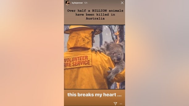 Kylie Jenner posted this photo to her Instagram story in order to draw awareness to the Australian wildfires.