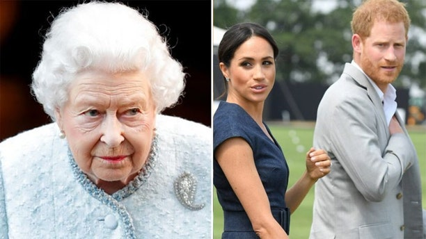 "Queen Elizabeth II (left) has reportedly banned the Duke and Duchess of Sussex from banking on the ""Sussex Royal"" brand."