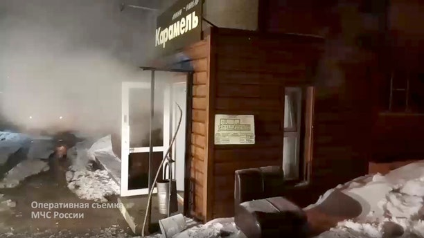 A view of a damaged hotel of nine rooms located in the basement of a residential building which was flooded with boiling water after a pipe ruptured in Perm, Russia on Monday.