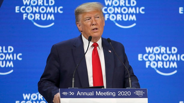 President Trump addresses the World Economic Forum in Davos, Switzerland, on Tuesday. (AP)