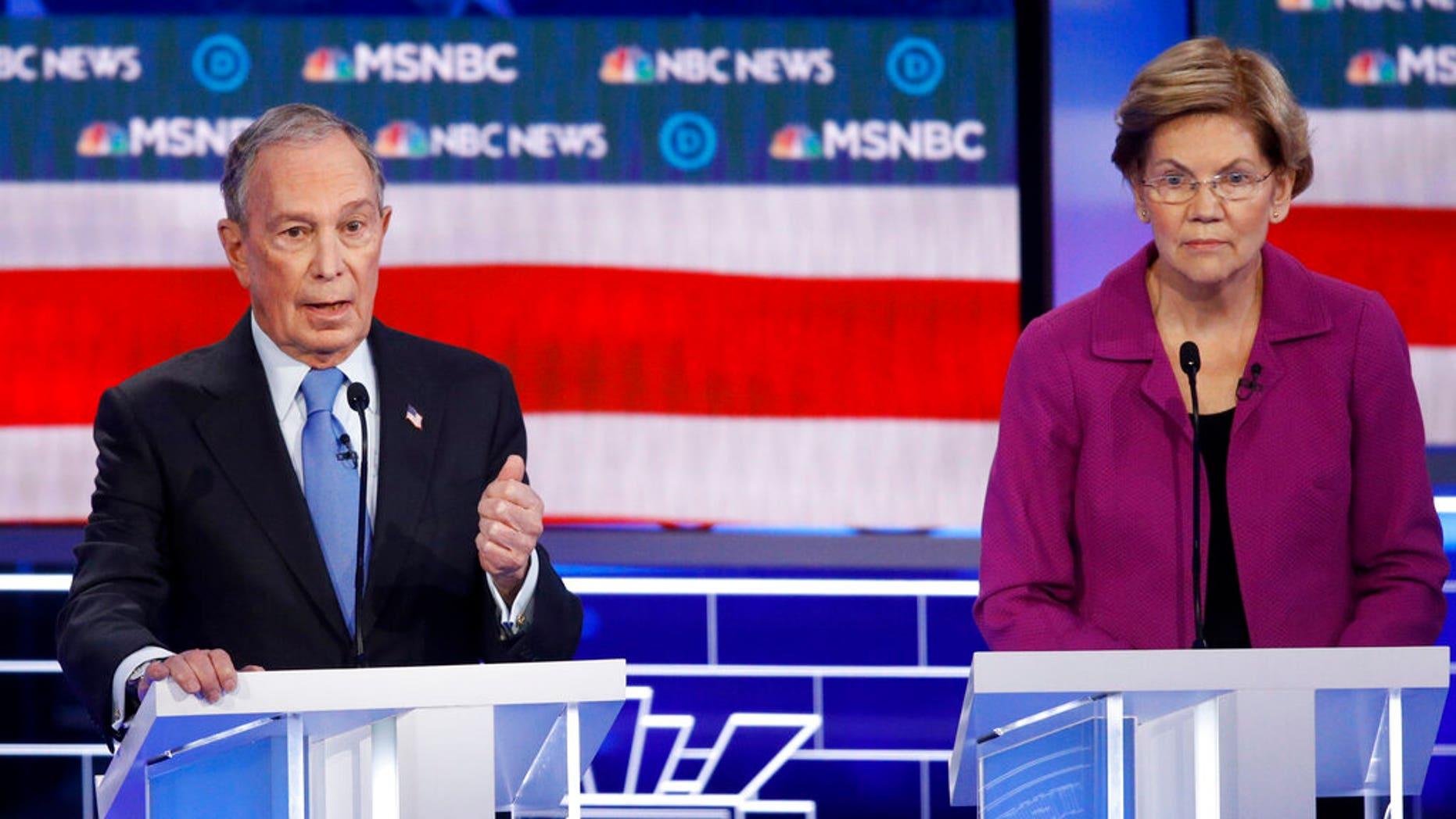 Democratic presidential candidates, former New York City Mayor Mike Bloomberg and Sen. Elizabeth Warren, D-Mass., at the Democratic presidential primary debate in Las Vegas. (AP Photo/John Locher)