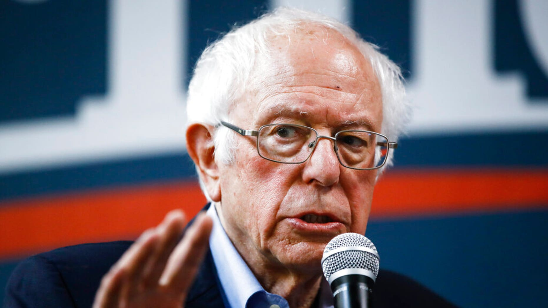 Democratic presidential candidate Sen. Bernie Sanders, I-Vt., speaks at a campaign field office, Sunday, Feb. 2, 2020, in Newton, Iowa. (AP Photo/Matt Rourke)