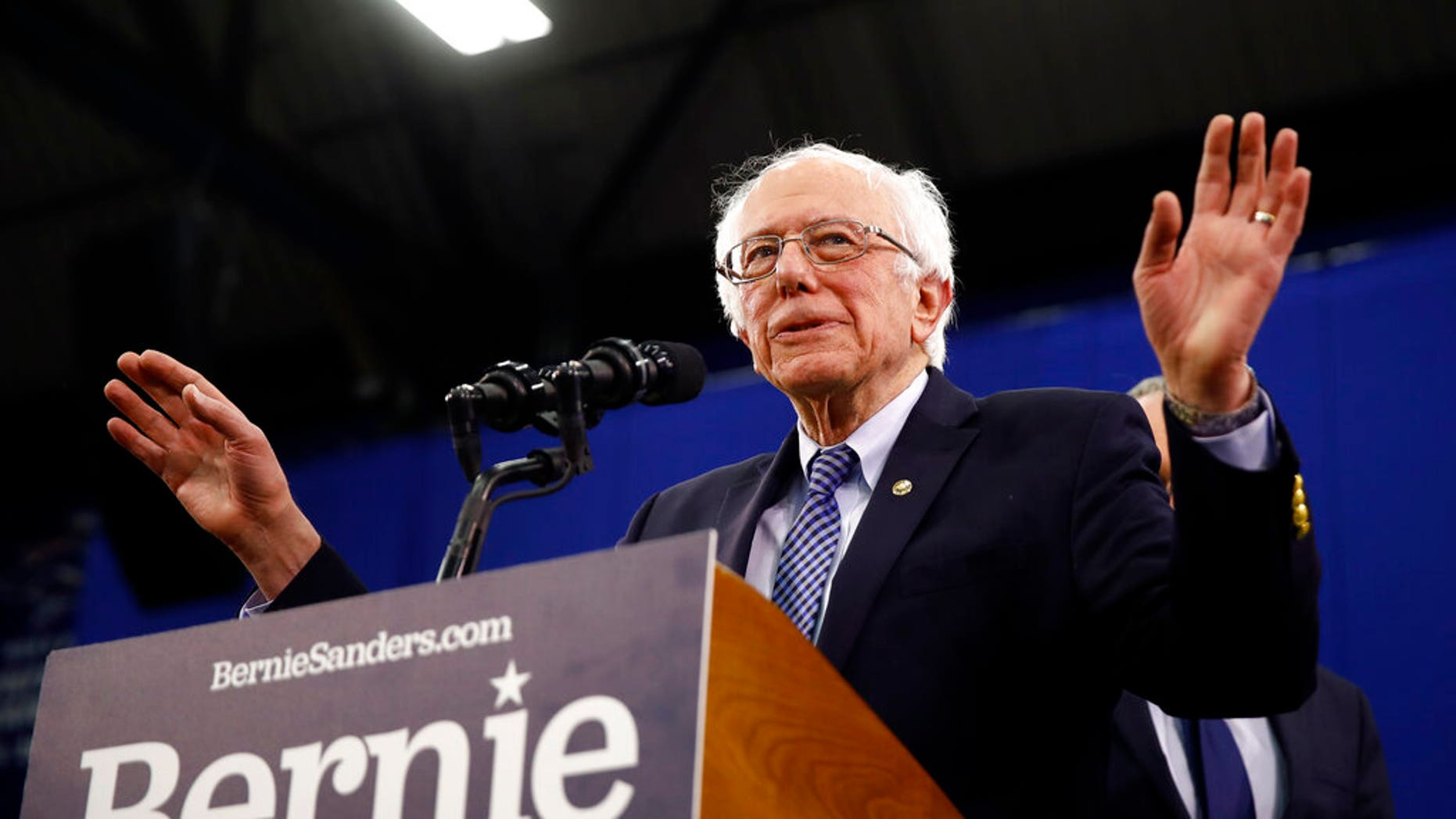 Democratic presidential candidate Sen. Bernie Sanders, I-Vt., speaks to supporters at a primary night election rally in Manchester, N.H., Tuesday, Feb. 11, 2020. (AP Photo/Matt Rourke)