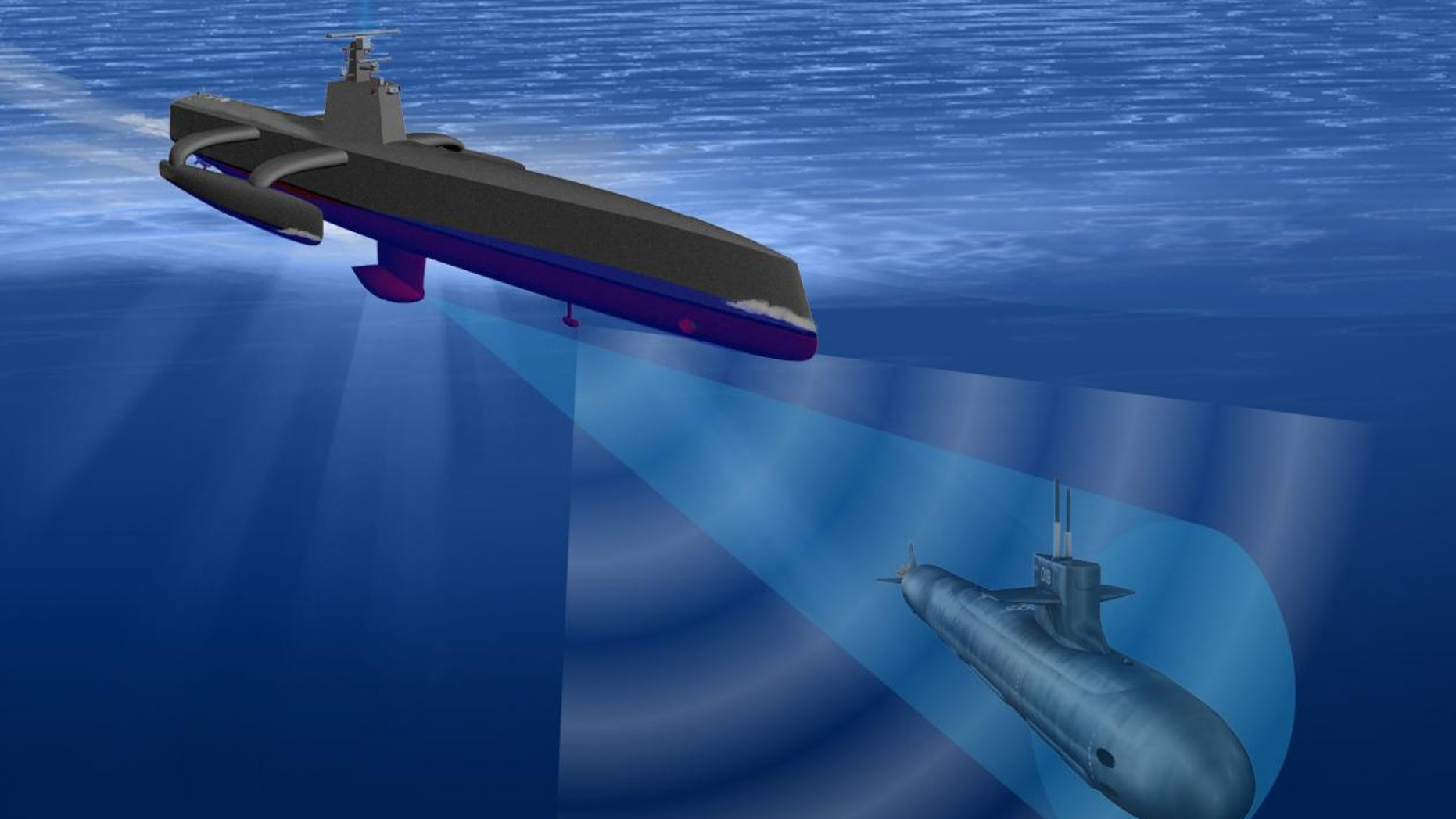 DARPA illustration of a Sea Hunter drone.