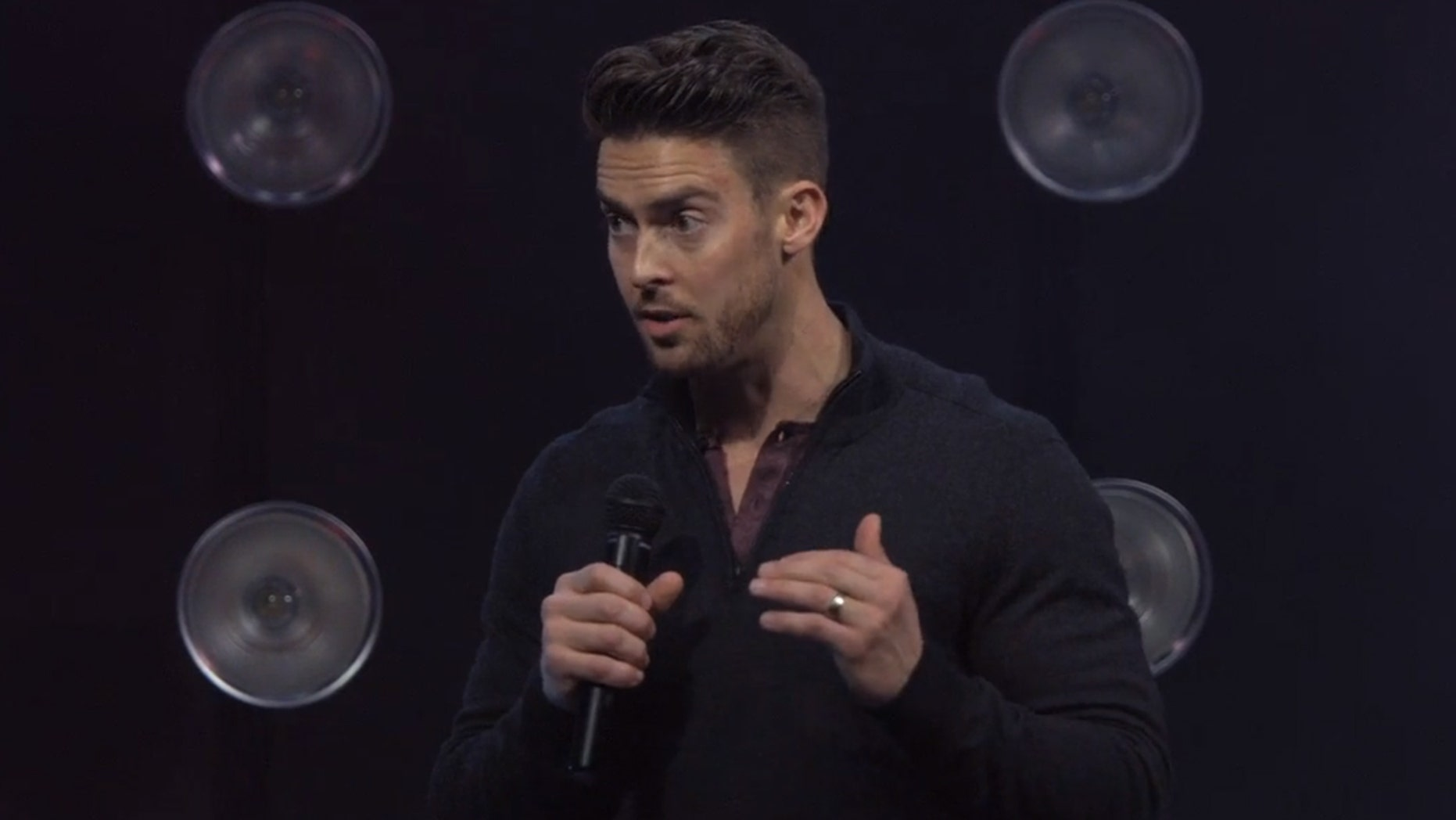 Pastor Davey Blackburn speaks at Mercy Road Church in Indianapolis Sunday.