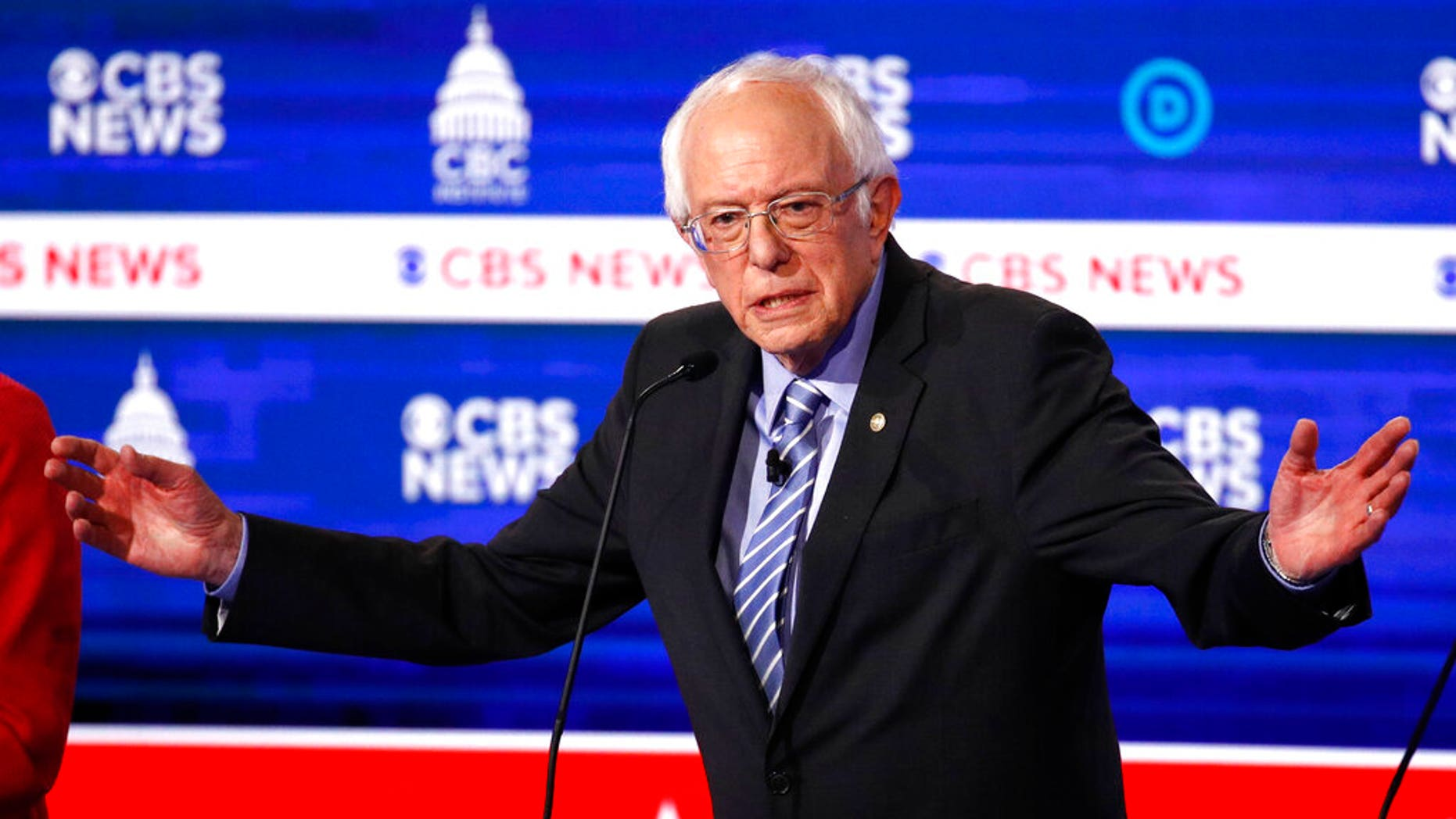 Sen. Bernie Sanders, I-Vt., speaks during a Democratic presidential primary debate at the Gaillard Center, in Charleston, S.C., co-hosted by CBS News and the Congressional Black Caucus Institute. (AP Photo/Patrick Semansky)