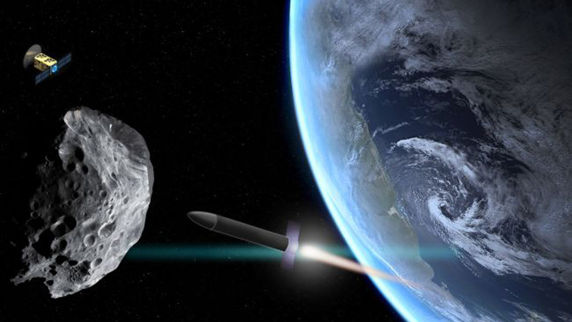 An illustration shows a rocket approaching an asteroid that's drifted too close to Earth. A scout probe orbits nearby. (Credit: Christine Daniloff, MIT)