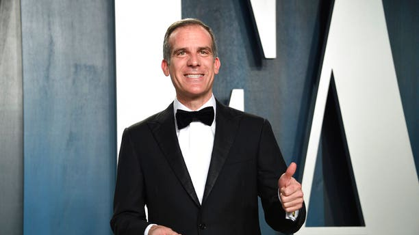 Eric Garcetti arrives at the Vanity Fair Oscar Party on Sunday, Feb. 9, 2020, in Beverly Hills, Calif. (Invision/AP)