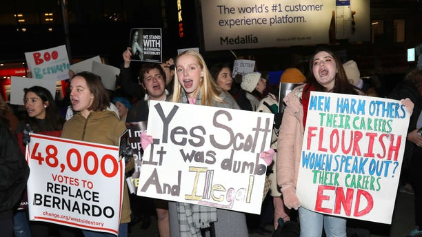 """Protesters demonstrate at the Broadway opening night of """"West Side Story"""" at The Broadway Theatre on Thursday, Feb. 20, 2020, in New York."""