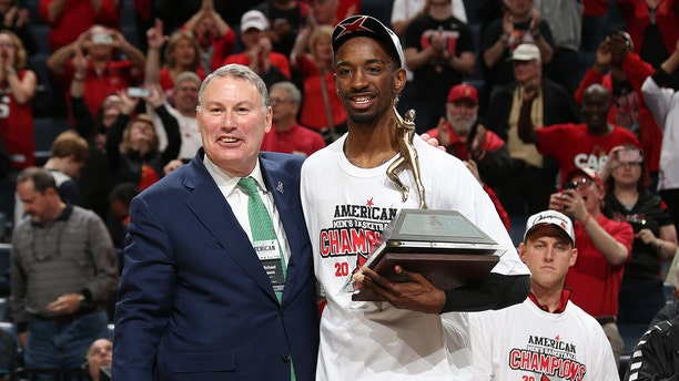 Russ Smith won the AAC's first tournament MVP trophy. (Photo by Joe Murphy/Getty Images)