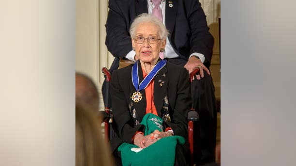 Former NASA mathematician Katherine Johnson is seen after President Barack Obama presented her with the Presidential Medal of Freedom, Tuesday, Nov. 24, 2015, during a ceremony in the East Room of the White House in Washington. (NASA/Bill Ingalls)