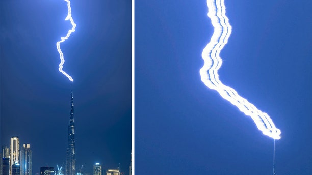 Three lightning bolts appear to hit the Burj Khalifa simultaneously in what may be the clearest picture ever taken of the phenomena known as 'Ribbon lightning'. (Credit: SWNS)