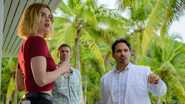 "(L-R): Lucy Hale, Austin Stowell and Michael Peña in ""Fantasy Island"""