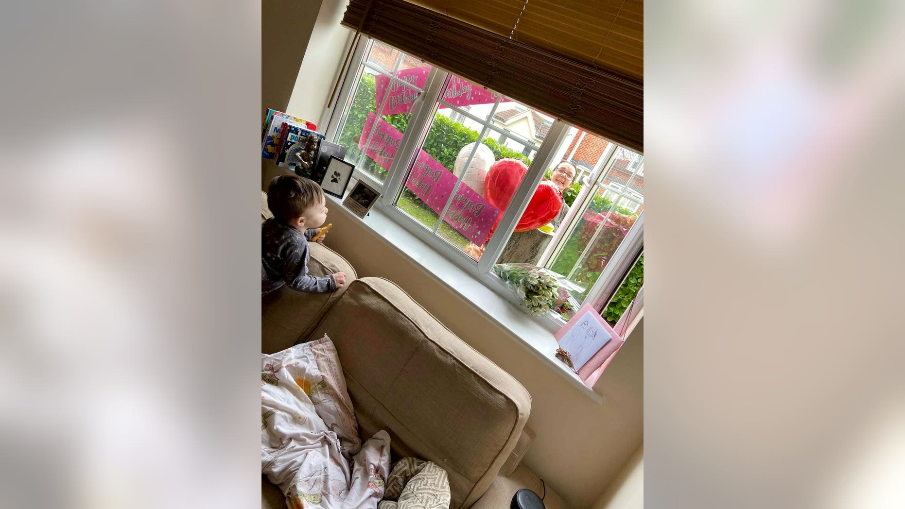 To avoid coronavirus, which doctors said could be fatal, Angel Wood is self-isolating - meaning her mom Sally Wood, 53, couldn't set up her usual banners, balloons, cake and gifts in the living room.