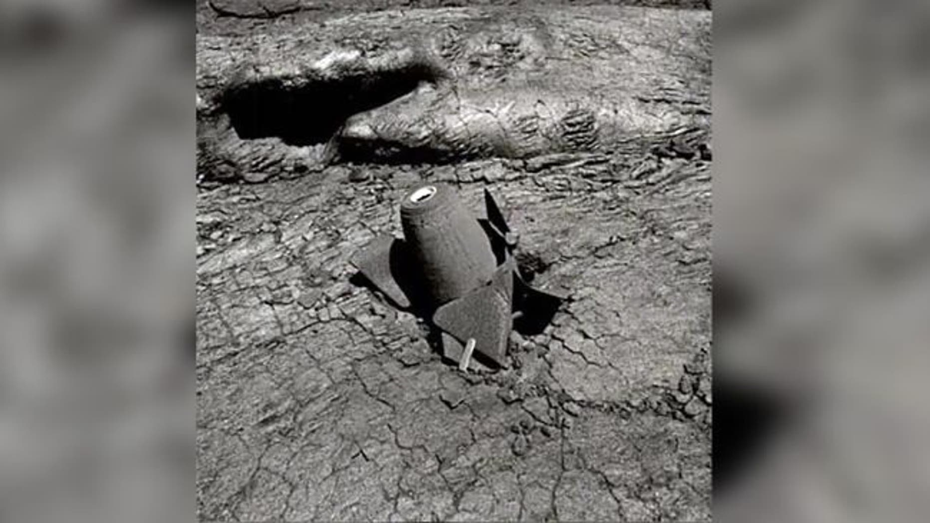 This pointer bomb was dropped into Mauna Loa volcano in 1935 and was photographed in 1977 by Hawaii Volcano Observatory's geologist Jack Lockwood in 1977. (Credit: Jack Lockwood/USGS)