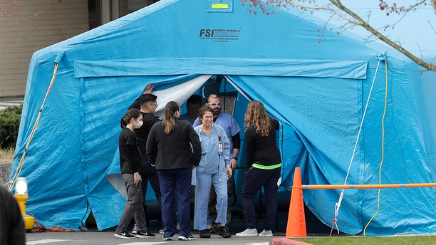 A large tent set up in front of the emergency room at EvergreenHealth Medical Center in Kirkland, Wash., last week.