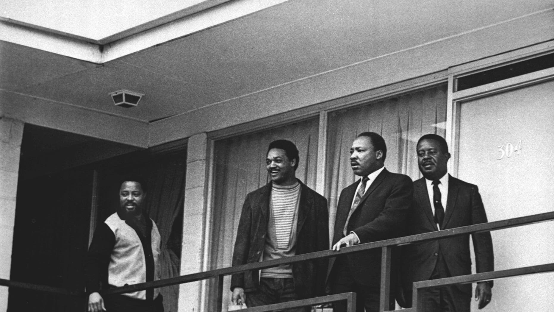 FILE - In this April 3, 1968 file photo, the Rev. Martin Luther King Jr. stands with other civil rights leaders on the balcony of the Lorraine Motel in Memphis, Tenn., a day before he was assassinated at approximately the same place. (AP Photo, File)