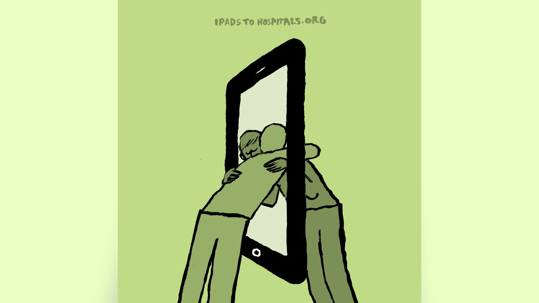 This illustration by French artist Jean Jullien, released by Jullien to Fox News, was created to spotlight the work of iPads to Hospitals, a volunteer group that collects used tablets and donates them to hospitals and nursing homes in underserved communities.