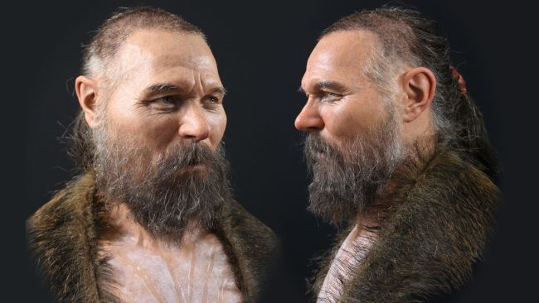 In this reconstruction, the Mesolithic man, who died in his 50s, wears a wild boar skin. (Credit: Oscar Nilsson)