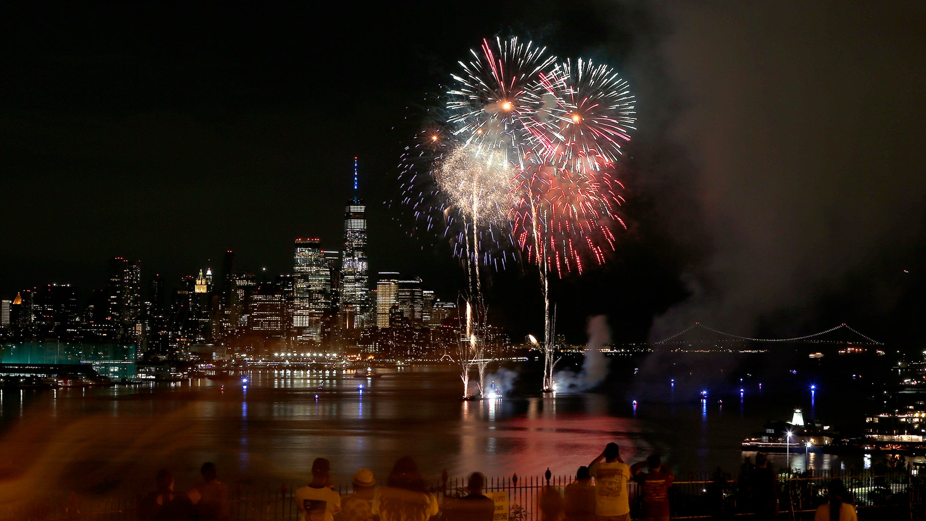 WEEHAWKEN, NJ - JUNE 30: Fireworks explode over lower Manhattan and One World Trade Center on the second of six nights of the Macy's July 4th fireworks shows in New York City on June 30, 2020 as seen from Weehawken, NJ. (Photo by Gary Hershorn/Getty Images)